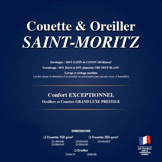 Couette Haut Luxe Légère 150g/m2 Saint Moritz 90% Duvet Oie Extra Blanc - La Cie DUMAS