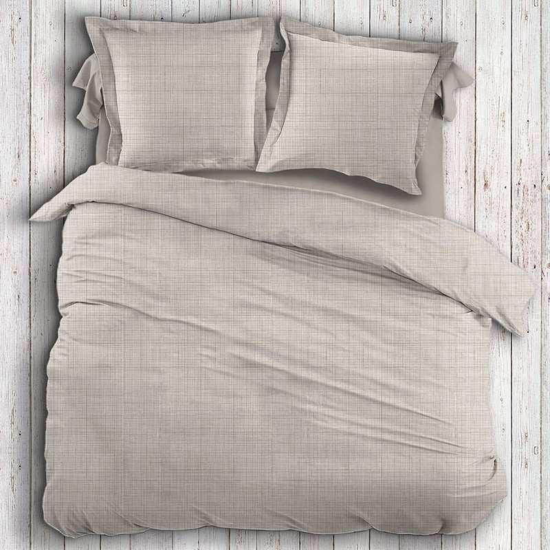 housse de couette taupe et beige la compagnie du blanc. Black Bedroom Furniture Sets. Home Design Ideas