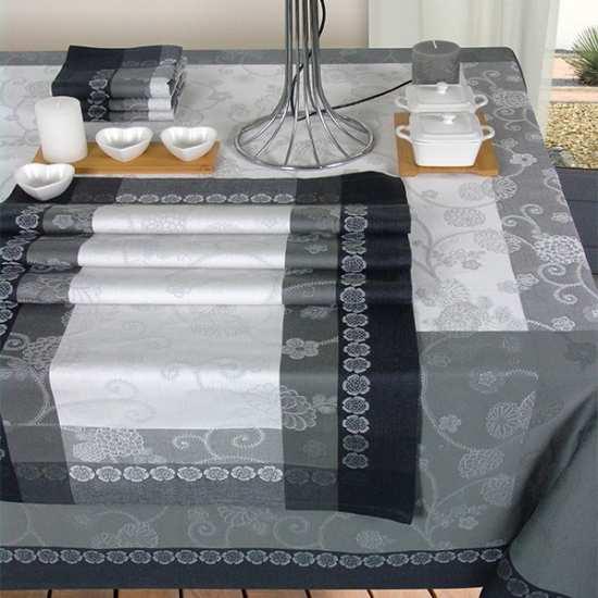 Nappe Jacquard Coton Izumi/Perle - Vent du Sud -