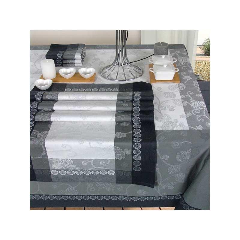 Nappes de table perle jacquard la compagnie du blanc for Vent du sud linge de maison