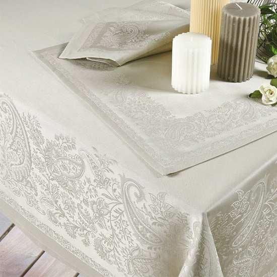 Nappe de table trento lin la compagnie du blanc for Vent du sud linge de maison