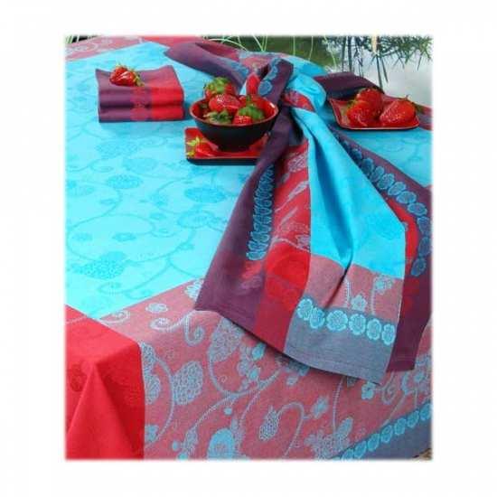 Nappe Jacquard Coton Izumi Turquoise - Vent du Sud -